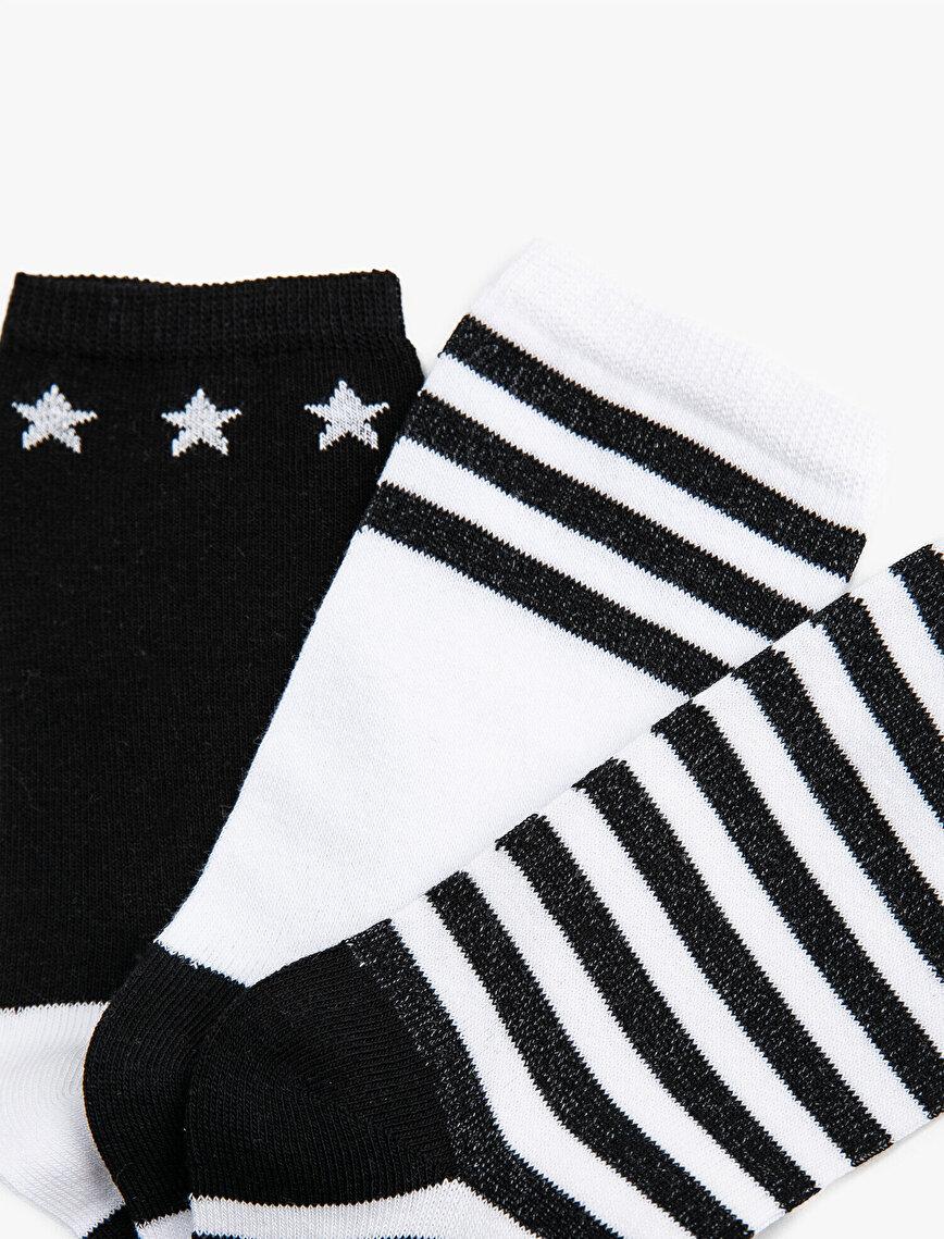 Woman Striped Cotton 3 Pieces Socks Set