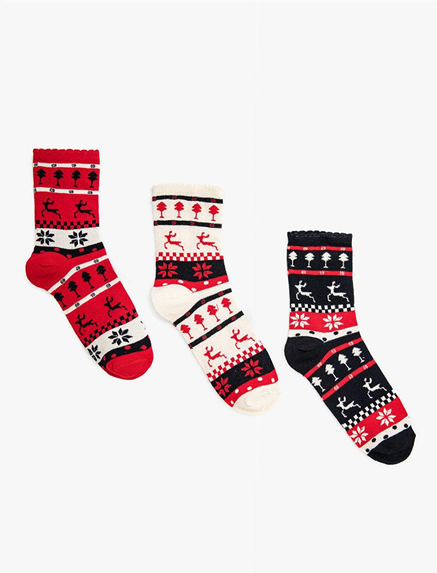Woman 3 Pieces Patterned Cotton Socks Set