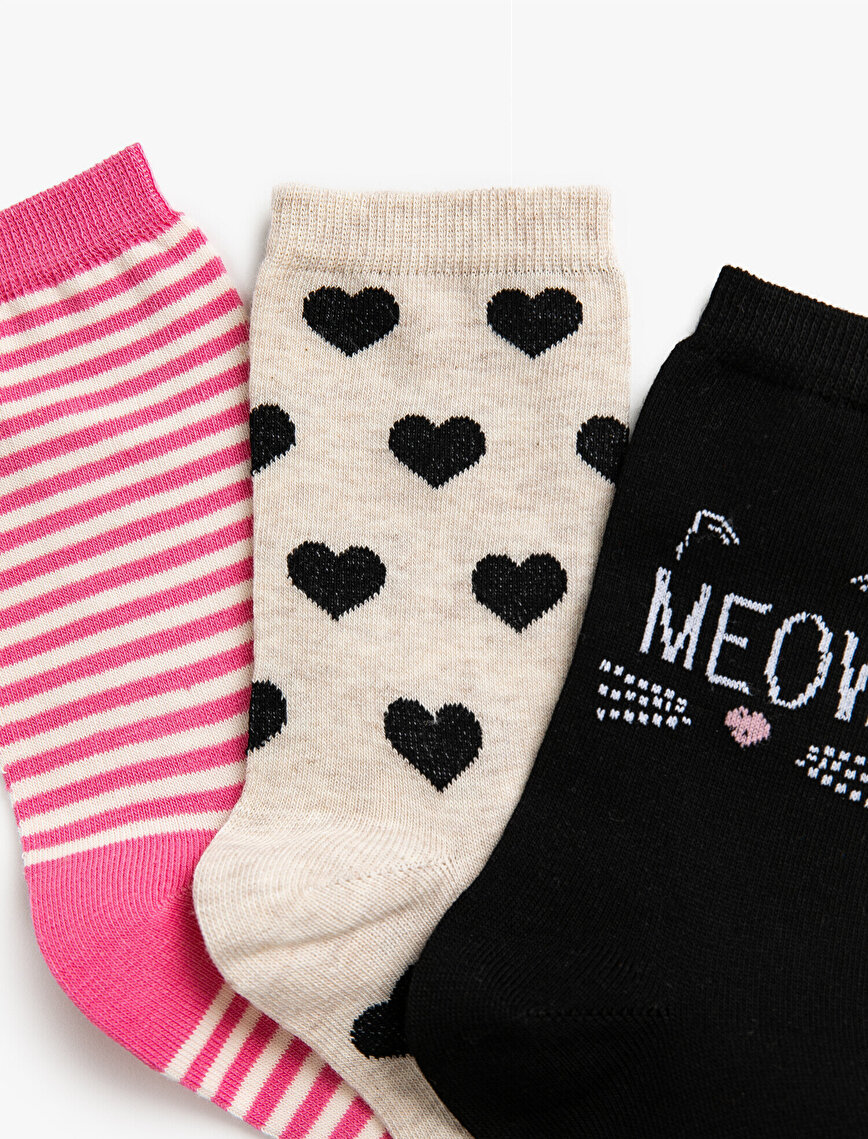 Woman Heart Patterned Striped Cotton 3 Pieces Socks Set