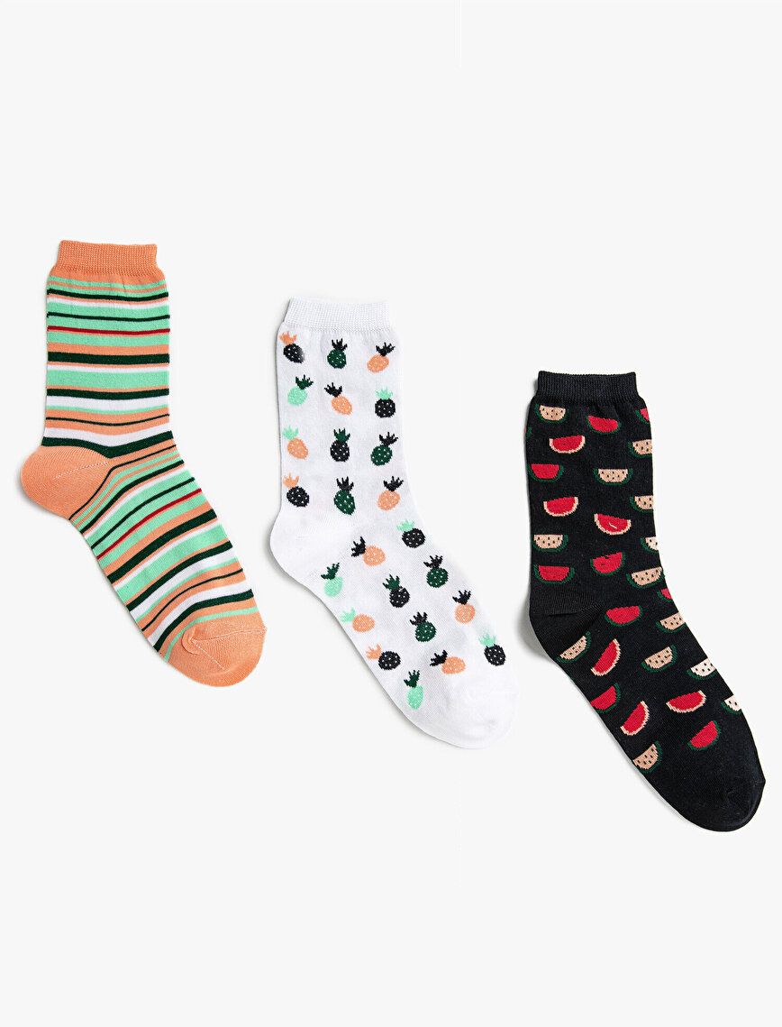 Woman Striped Patterned Cotton Socks Set 3 Pieces