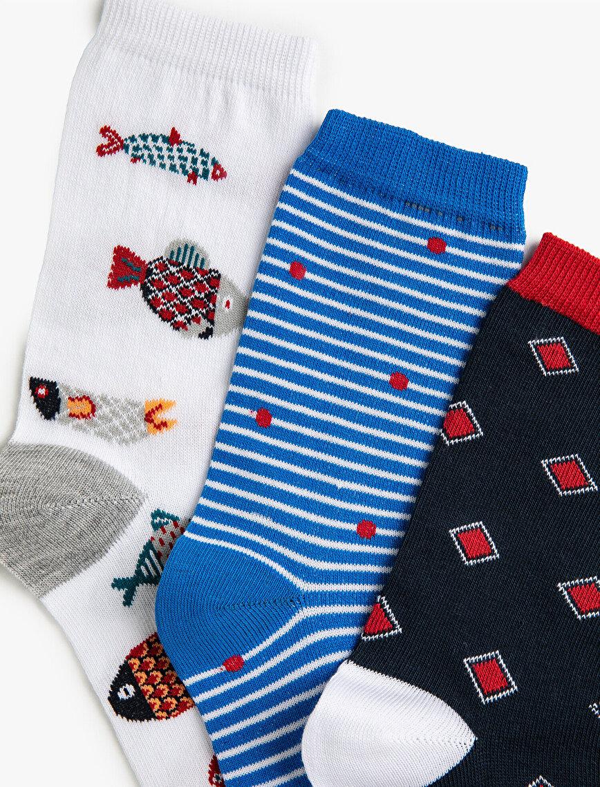 Woman Striped Patterned Socks Set Cotton 3 Pieces