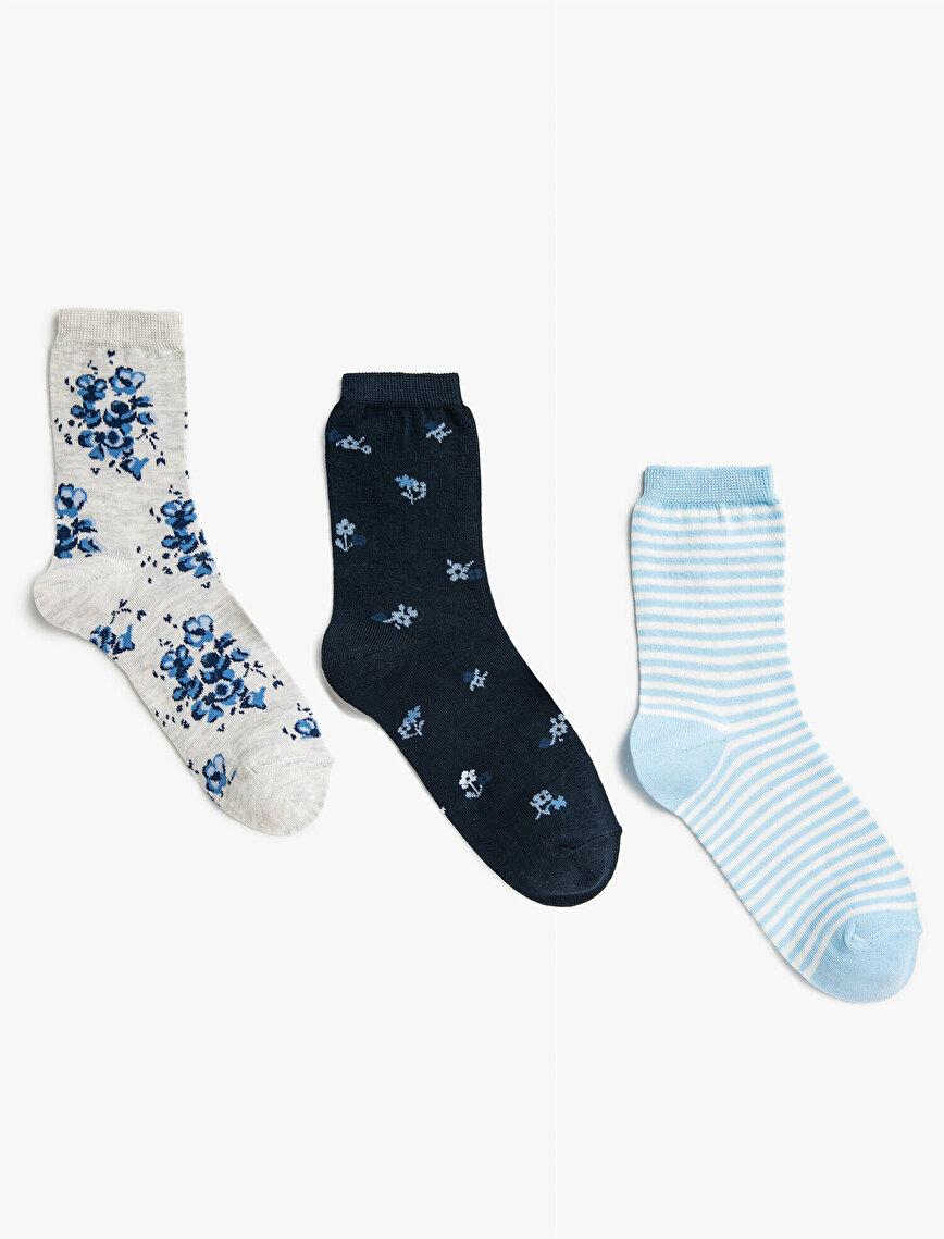 Woman Floral Striped Socks Set Cotton 3 Pieces