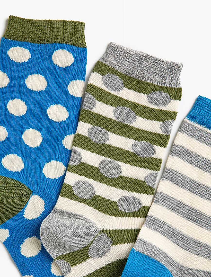 Woman Striped Dotted Cotton 3 Pieces Socks Set
