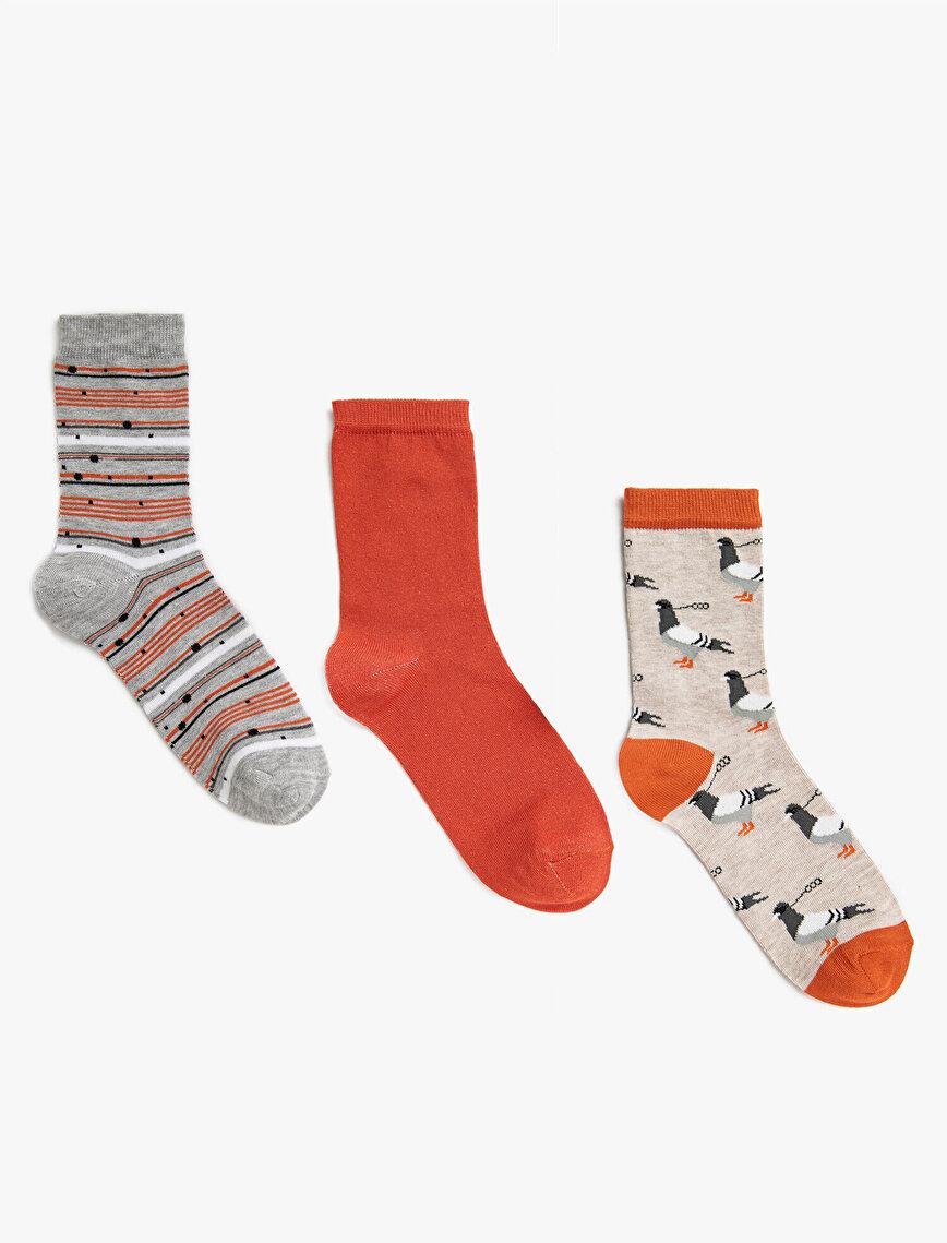 Woman Striped Patterned Cotton 3 Pieces Socks Set
