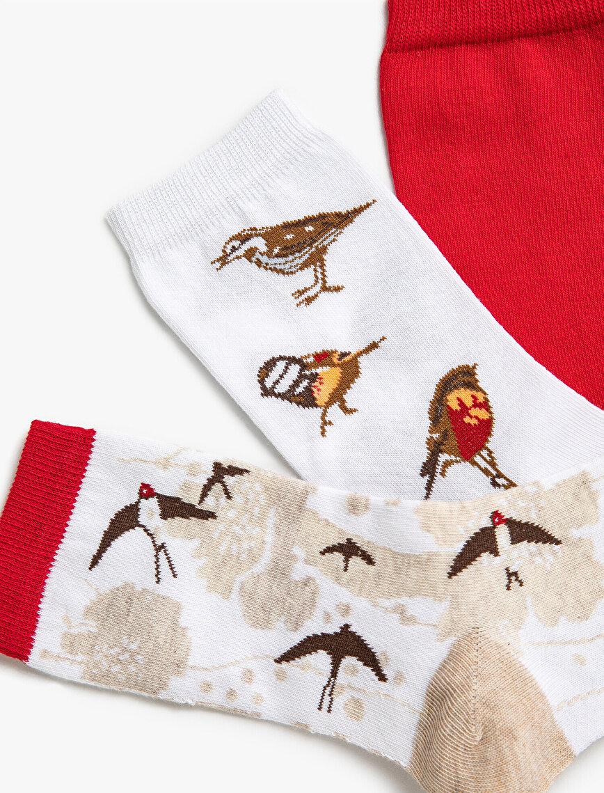 Woman Patterned Cotton 3 Pieces Socks Set