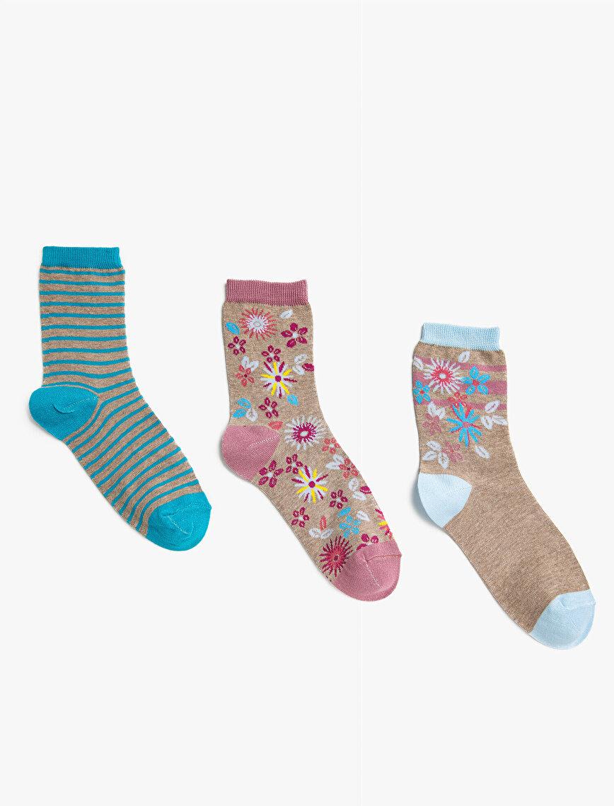 Woman Floral Socks Set Cotton