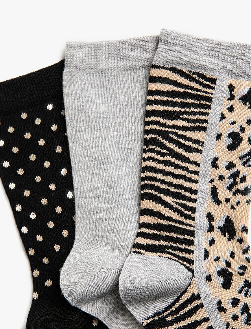 Kadın 3'lü Desenli Pamuklu Çorap