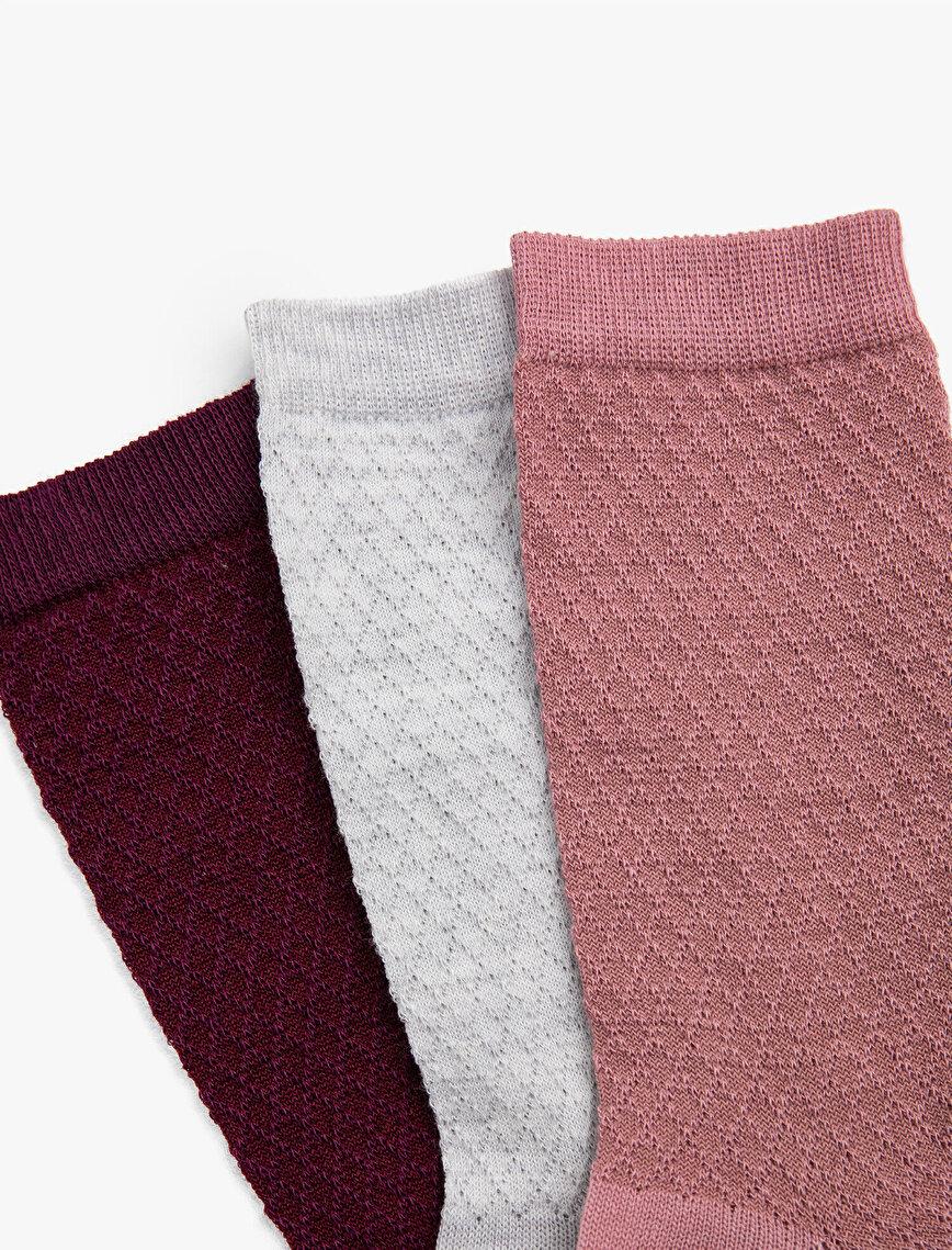 Man 3 Pieces Printed Basic Socks Set