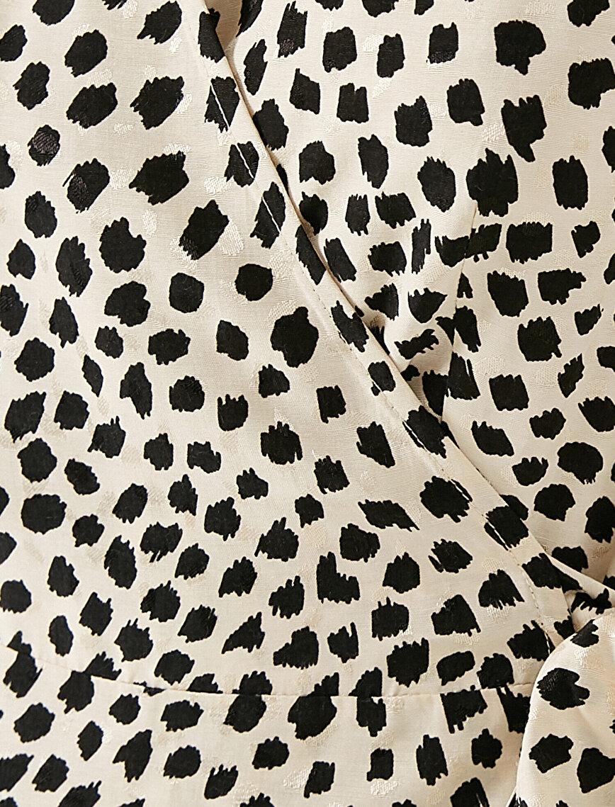 Uzun Kollu Beli Bağlamalı Puantiyeli Elbise
