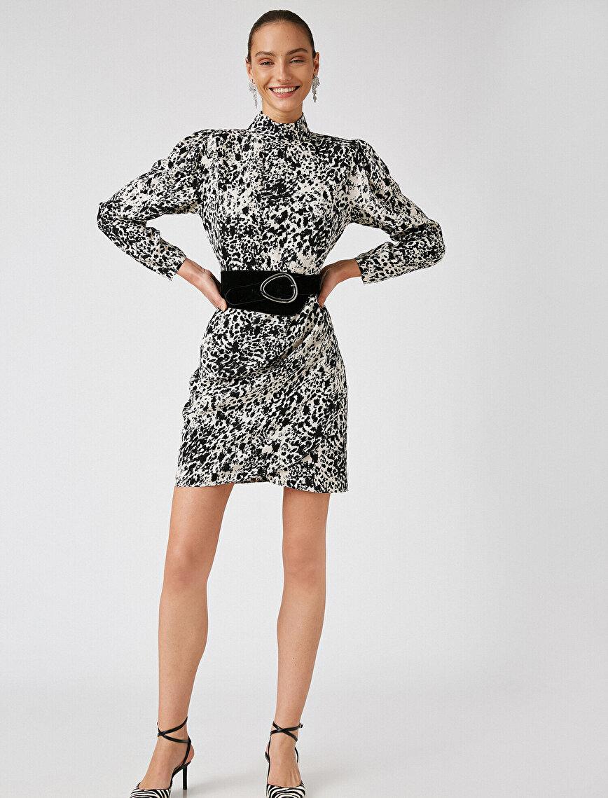 Respect Life | Yaşama Saygı - Arzu Sabancı for Koton %100 Viskon  Vatkalı Uzun Kollu Desenli Elbise