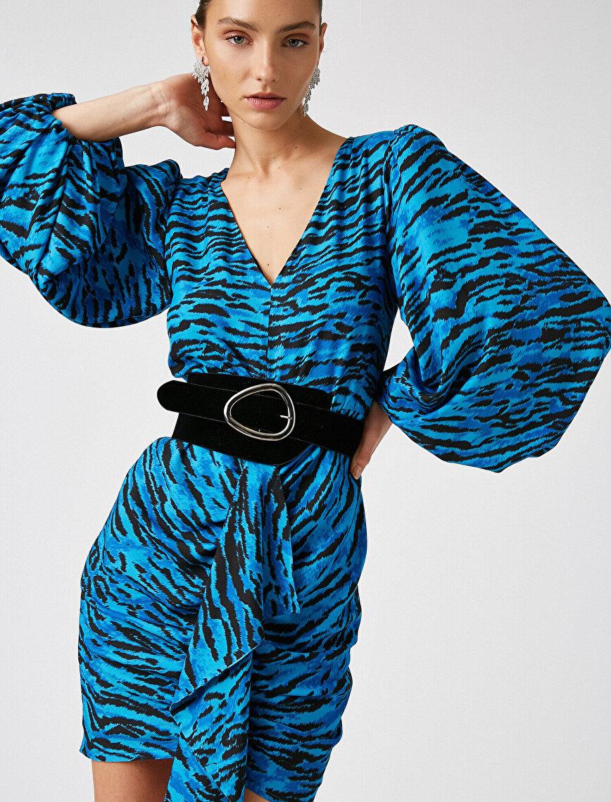 Respect Life | Yaşama Saygı - Arzu Sabancı for Koton %100 Viskon  Vatkalı Mini Elbise