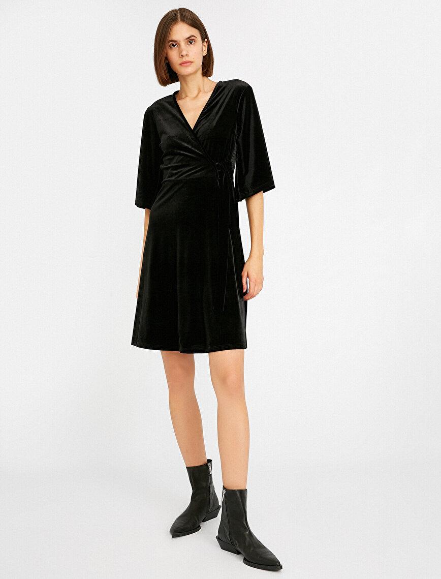 Kadife V Yaka Bağcıklı Wrap Elbise