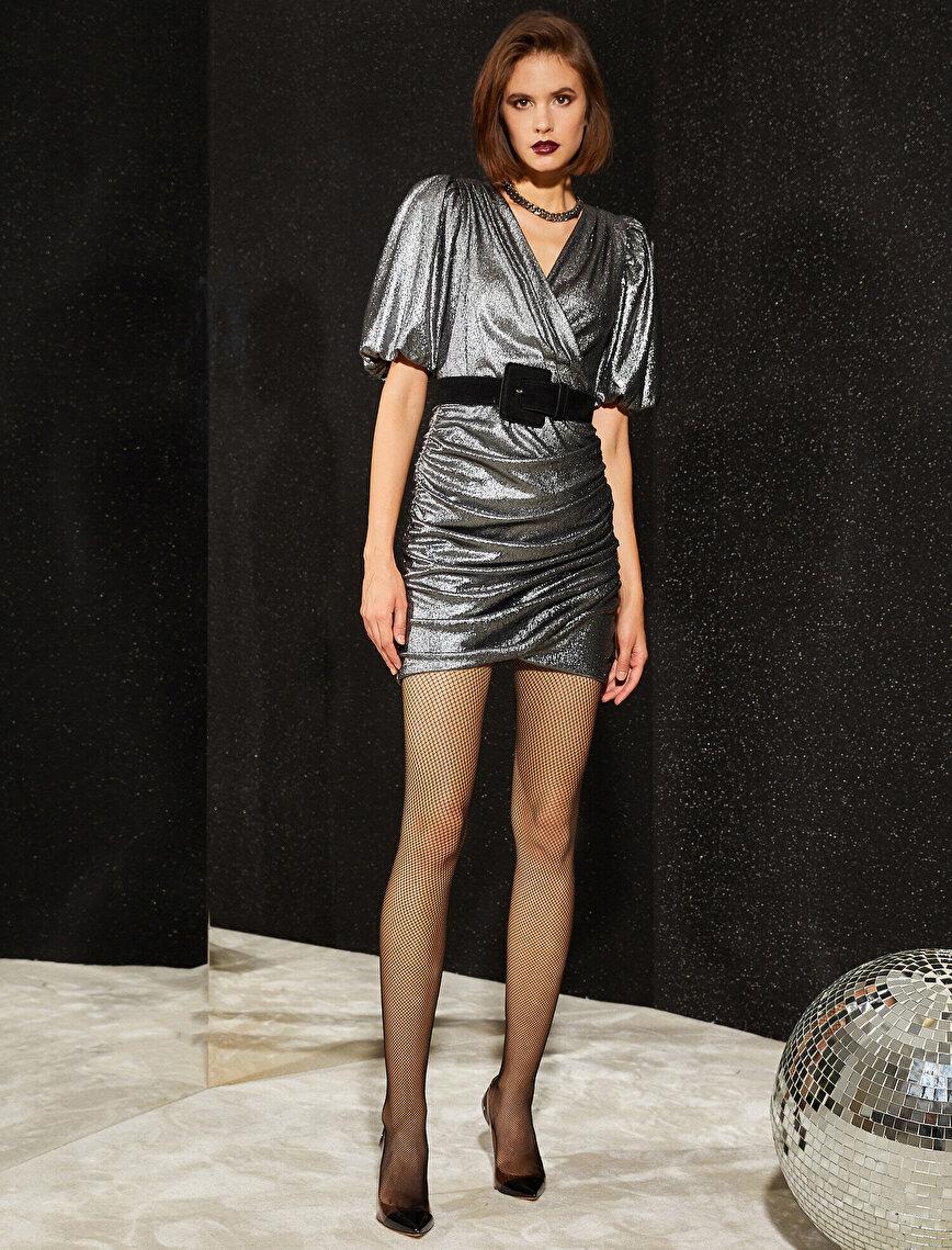 Metalik Elbise Abiye  Kısa Kollu Büzgülü