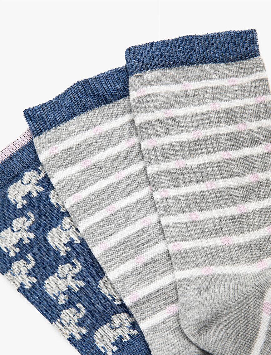 Kadın 3'lü Pamuklu Çizgili Desenli Çorap Seti