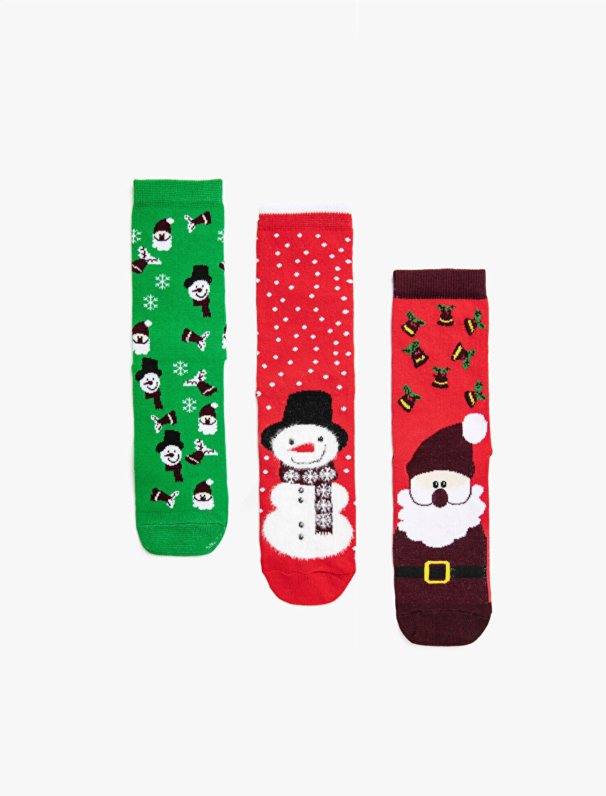 Women 3 Pieces New Year Themed Cotton Socks Set