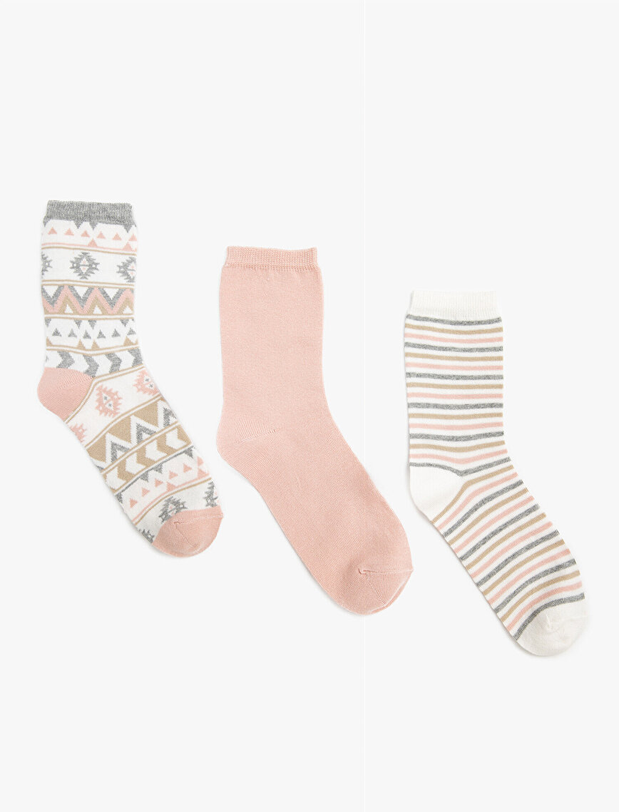 Woman 3 Pieces Cotton Striped Patterned Socks Set
