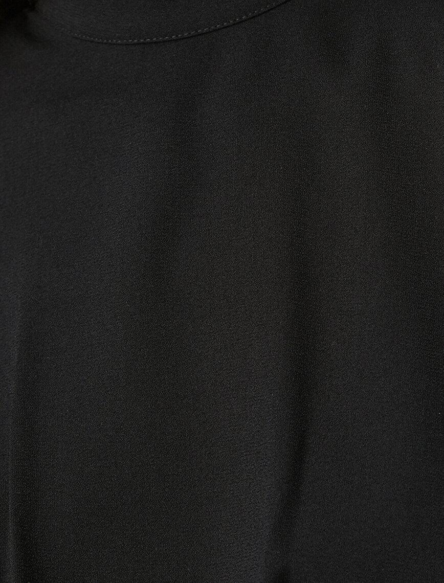 Vatkalı Elbise Abiye Dik Yaka Uzun Kollu İşleme Detaylı