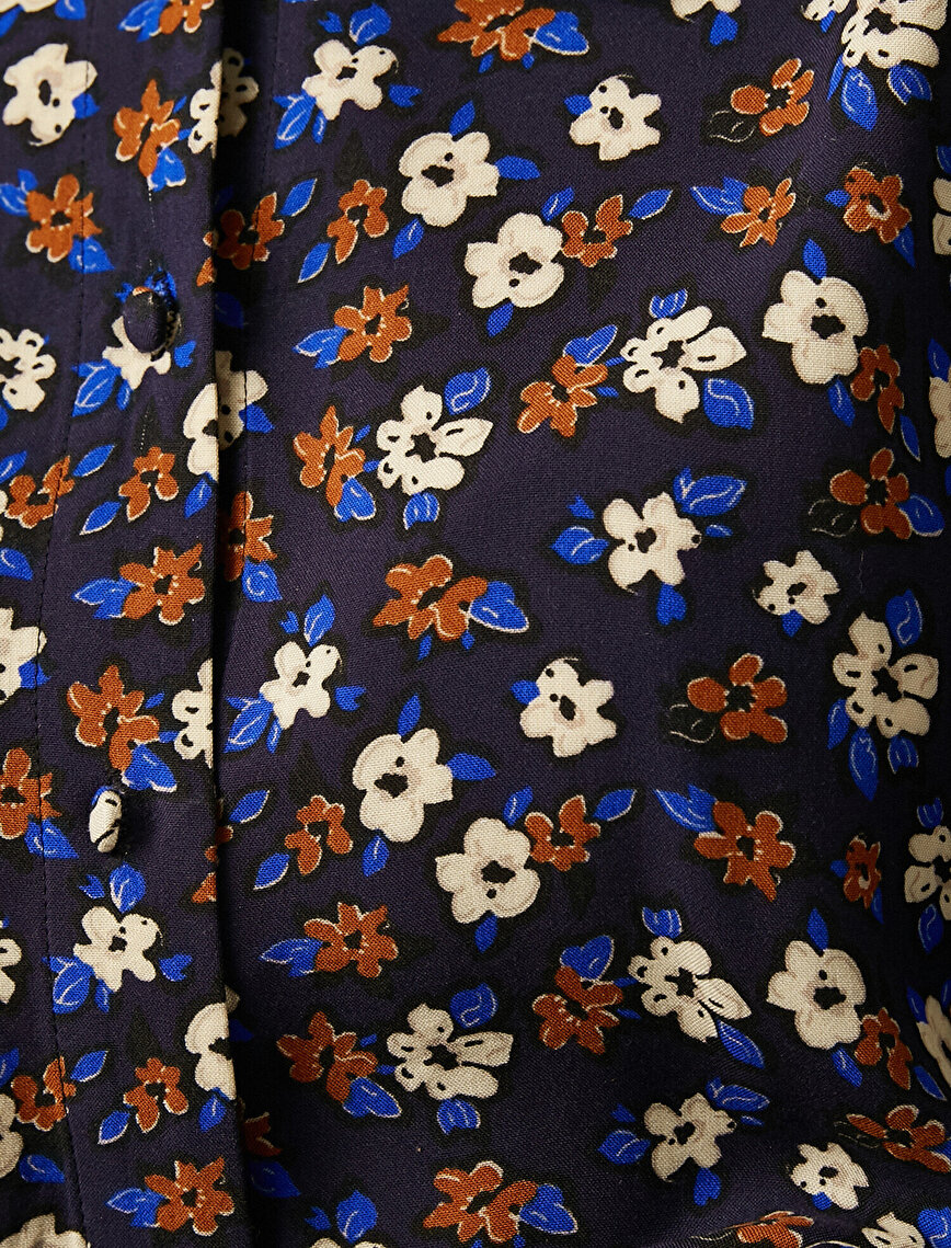 Gömlek Yaka Çiçek Desenli Kısa Elbise