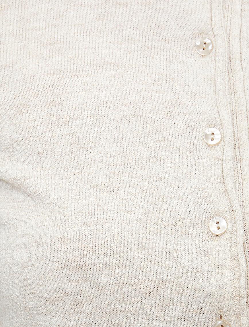 Düğme Detaylı Uzun Kollu Basic Triko Hırka