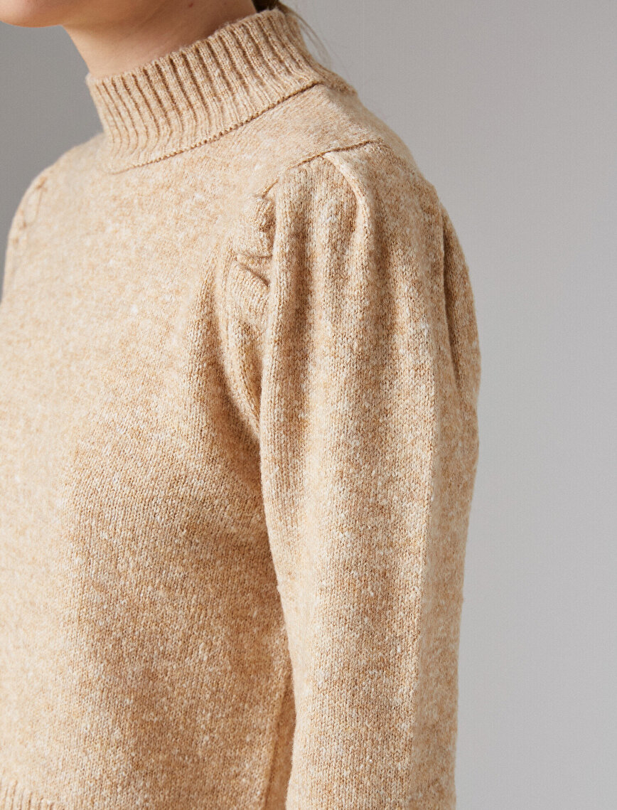Turtle Neck Puff Sleeve Sweater