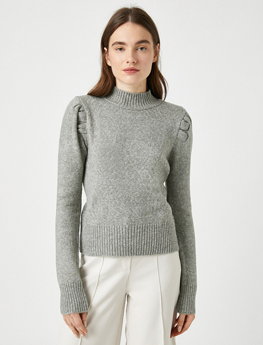 Turtle Neck Puff Sleeve Sweater