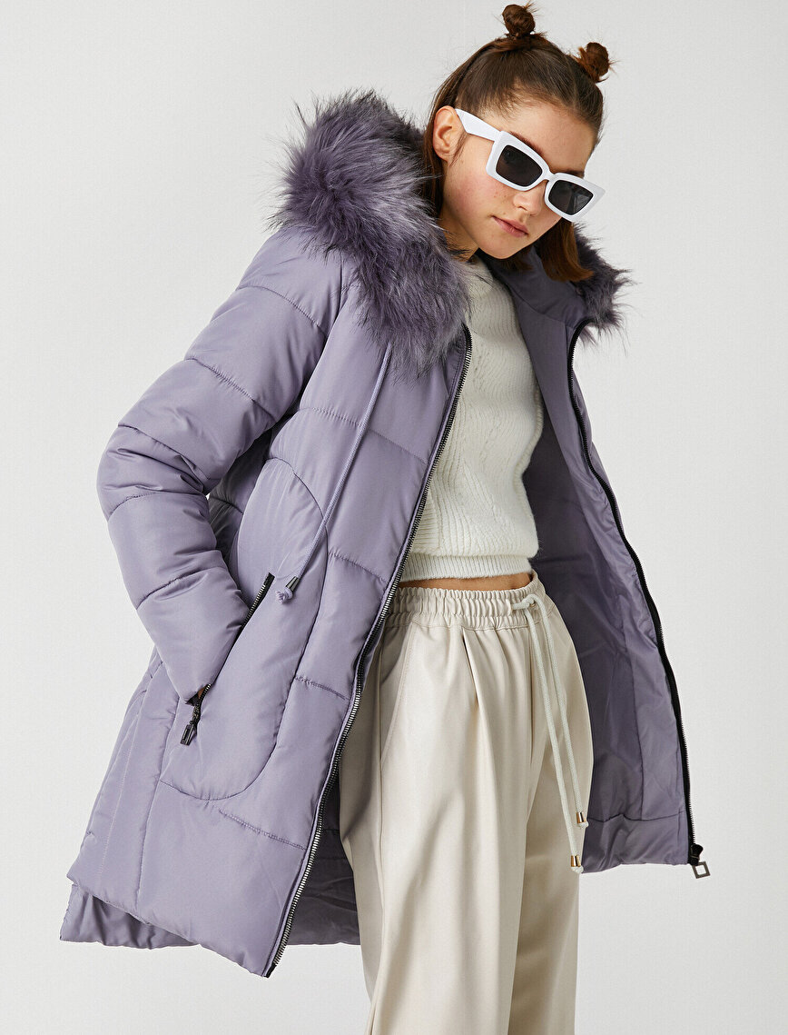 Faux Fur Detailed Hooded Long Puffer Coat