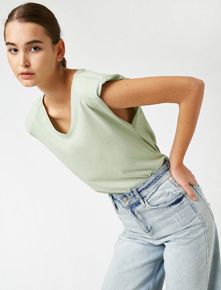 100% Cotton Shoulder Pad V Neck T-Shirt