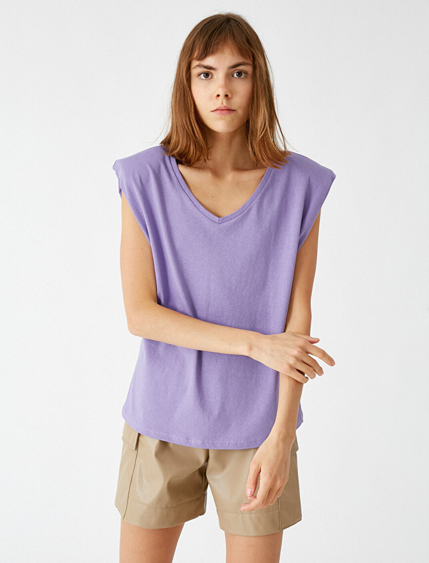 100% Cotton Shoulder Pad V Neck T-Shirt