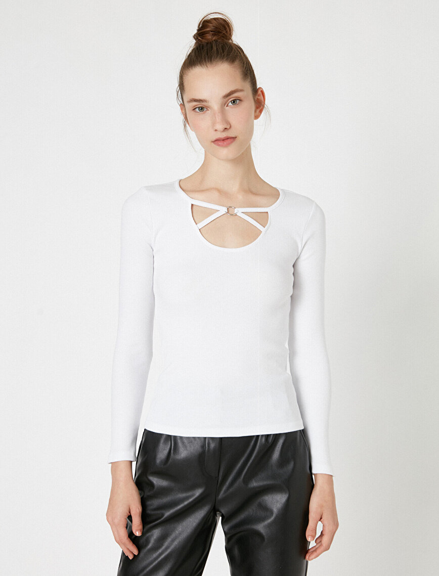 Long Sleeve Neck Detailed T-Shirt