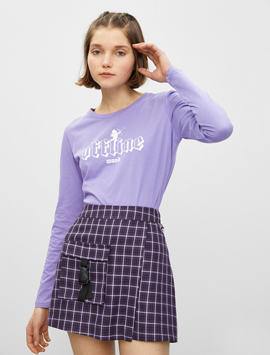 100% Cotton Long Sleeve Letter Printed T-Shirt