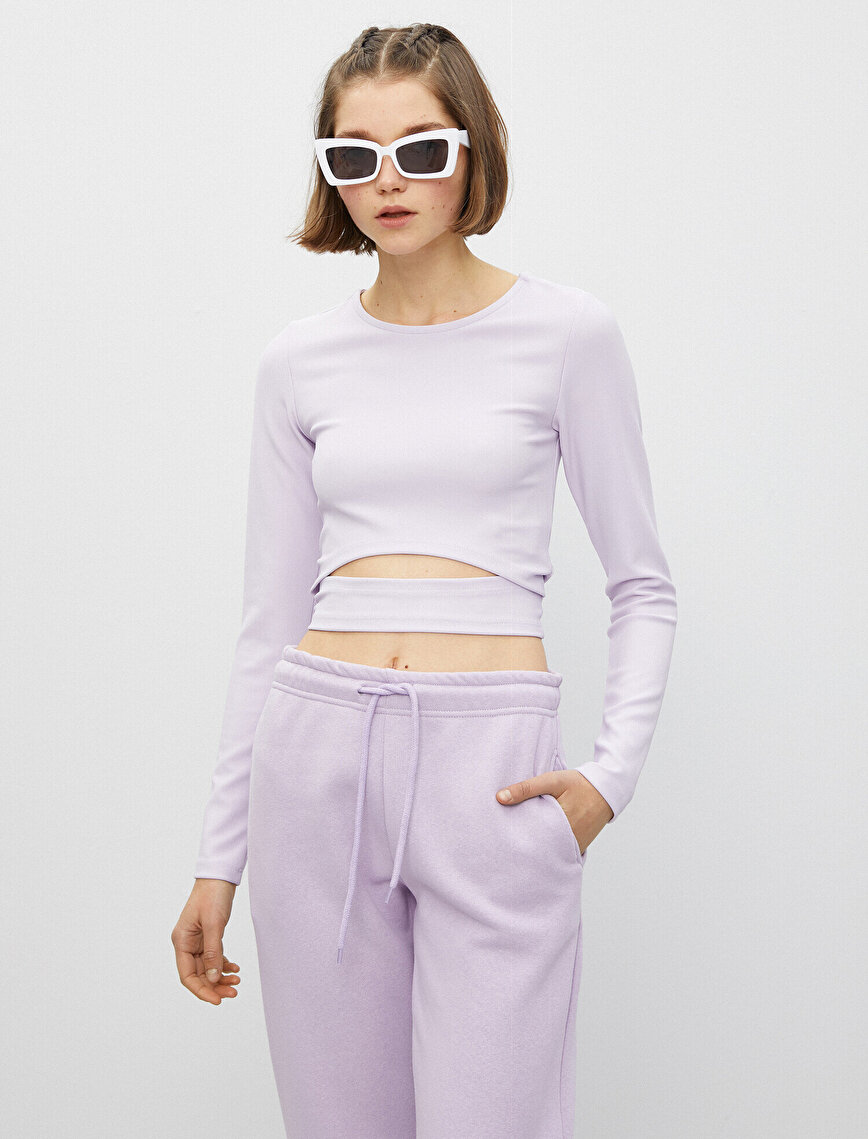 Crew Neck Long Sleeve Crop T-Shirt
