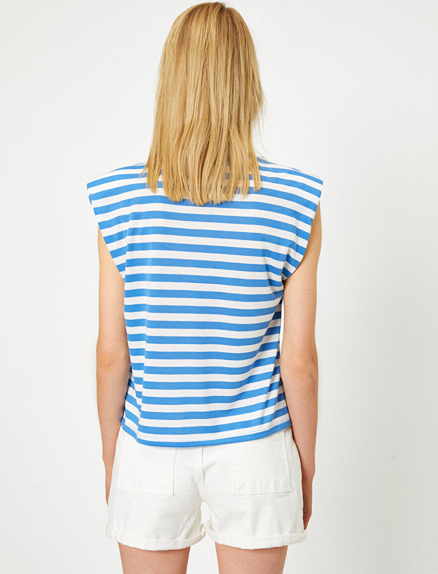Round Neck Sleeveless Striped T-Shirt