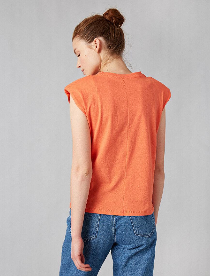 100% Cotton Shoulder Pad Short Sleeve T-Shirt