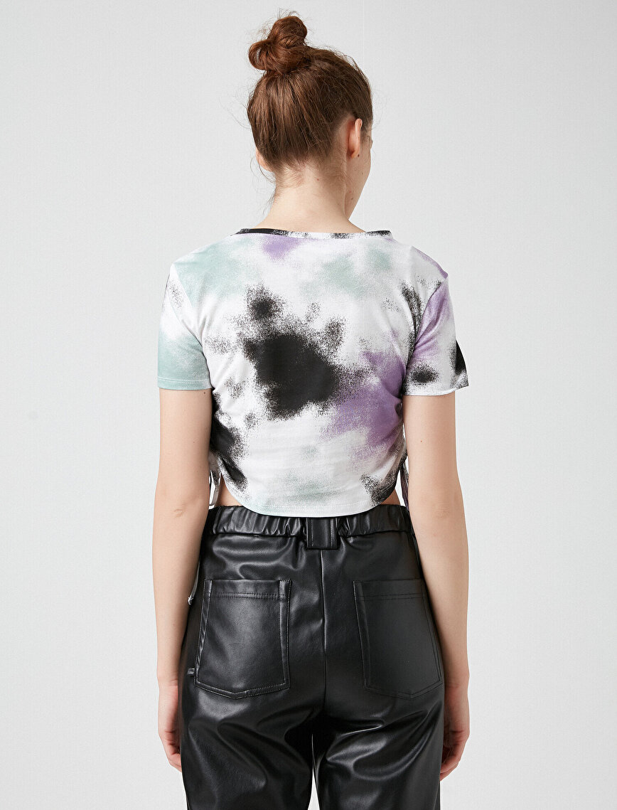 100% Cotton Knotted Tie-Dye Crop T-Shirt