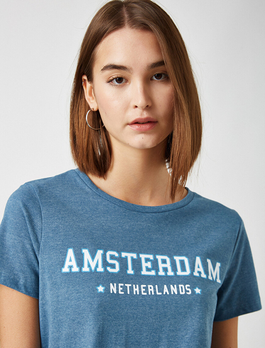 Crew Neck Letter Printed T-Shirt