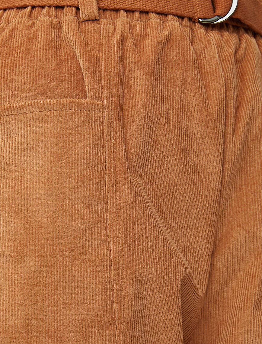 Corduroy Trousers Belted Cotton