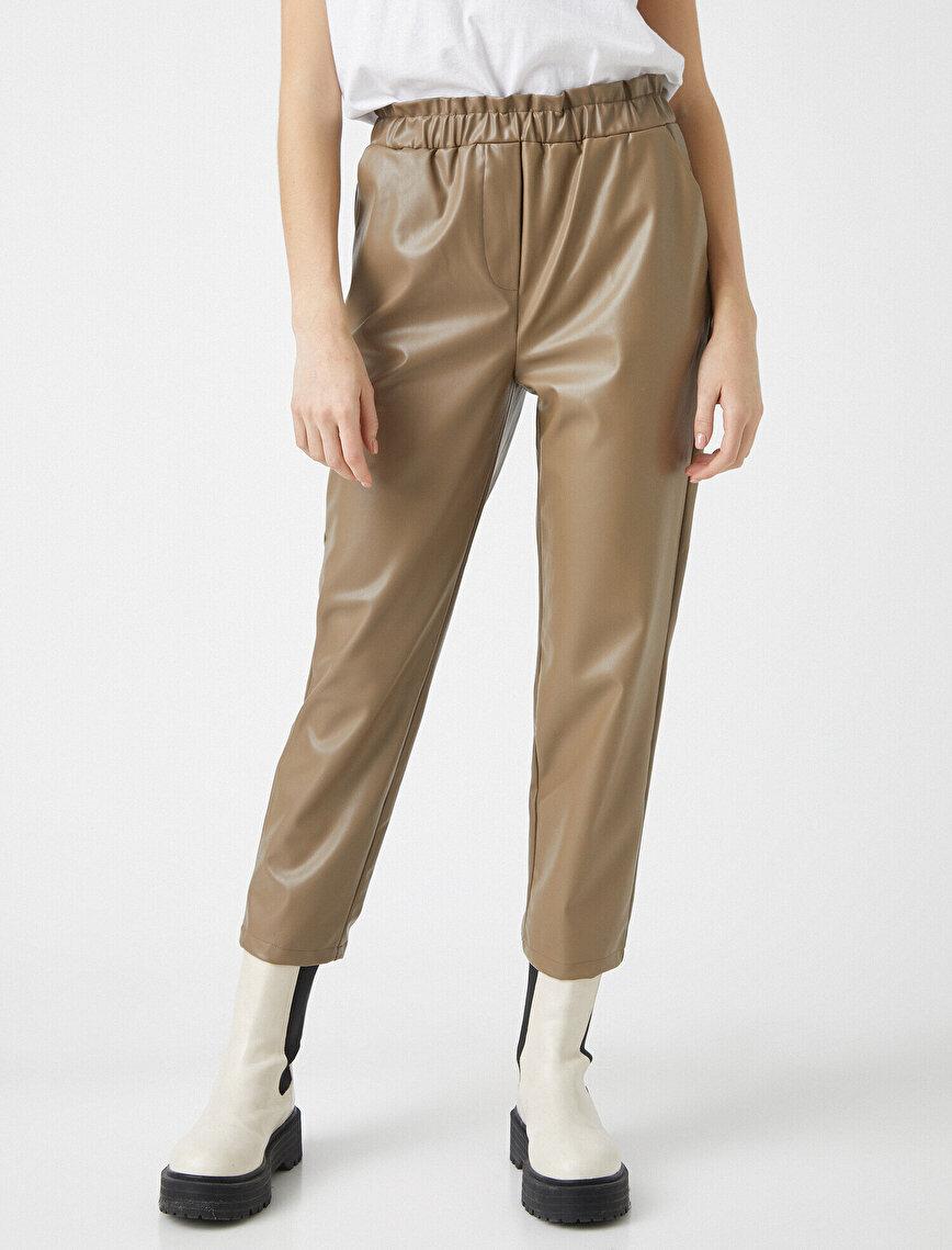 Yüksek Bel Suni Deri Pantolon