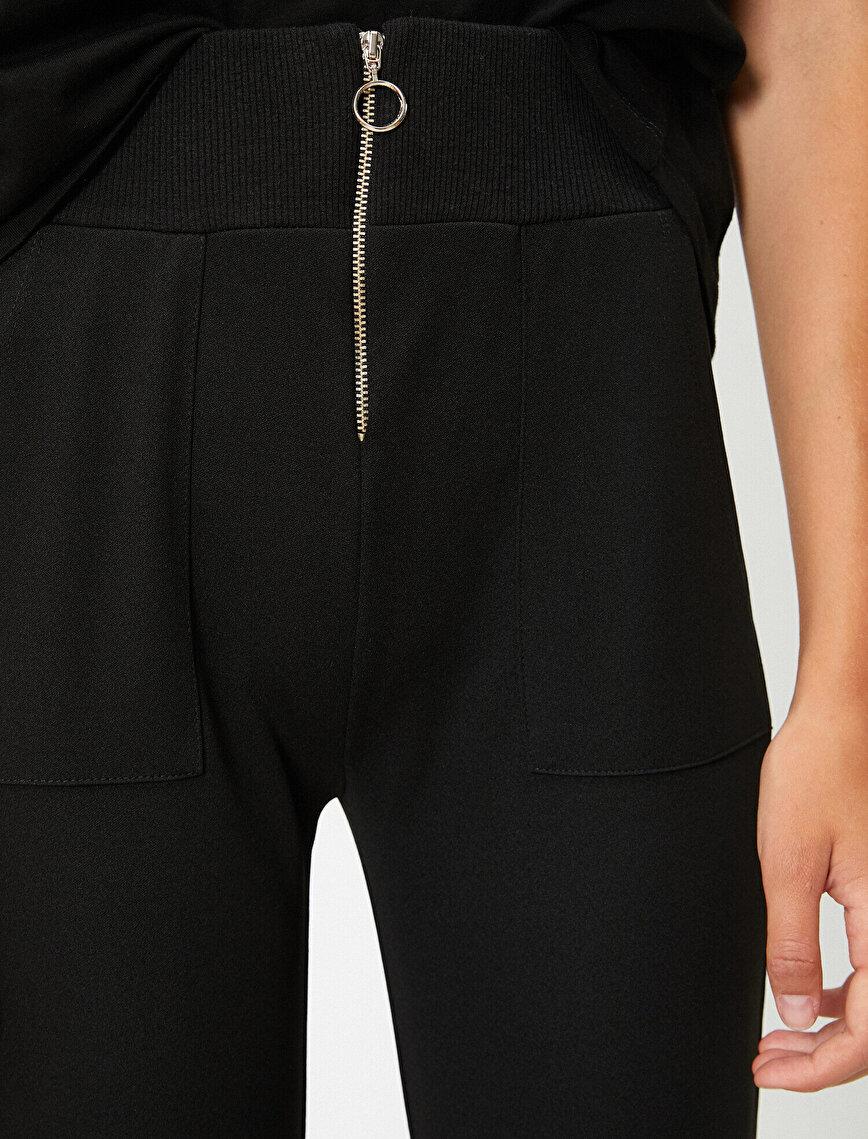 Yüksek Bel Cepli Fermuar Detaylı Jogger Pantolon