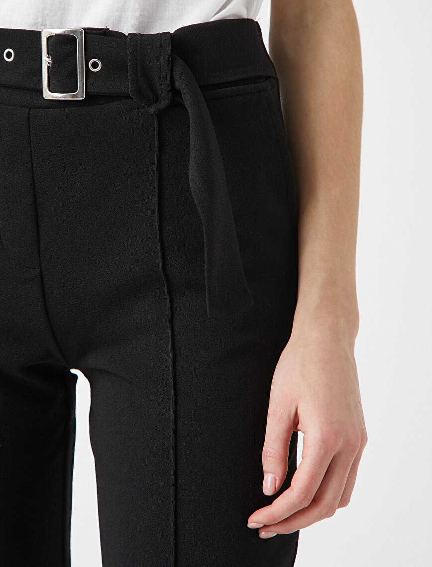 Belted Crep Cigarette Trousers