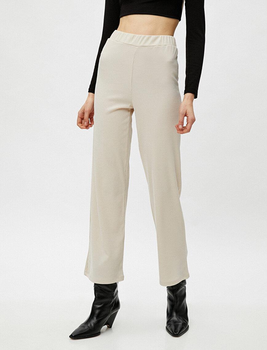 Geniş Paça Yüksek Bel Pantolon