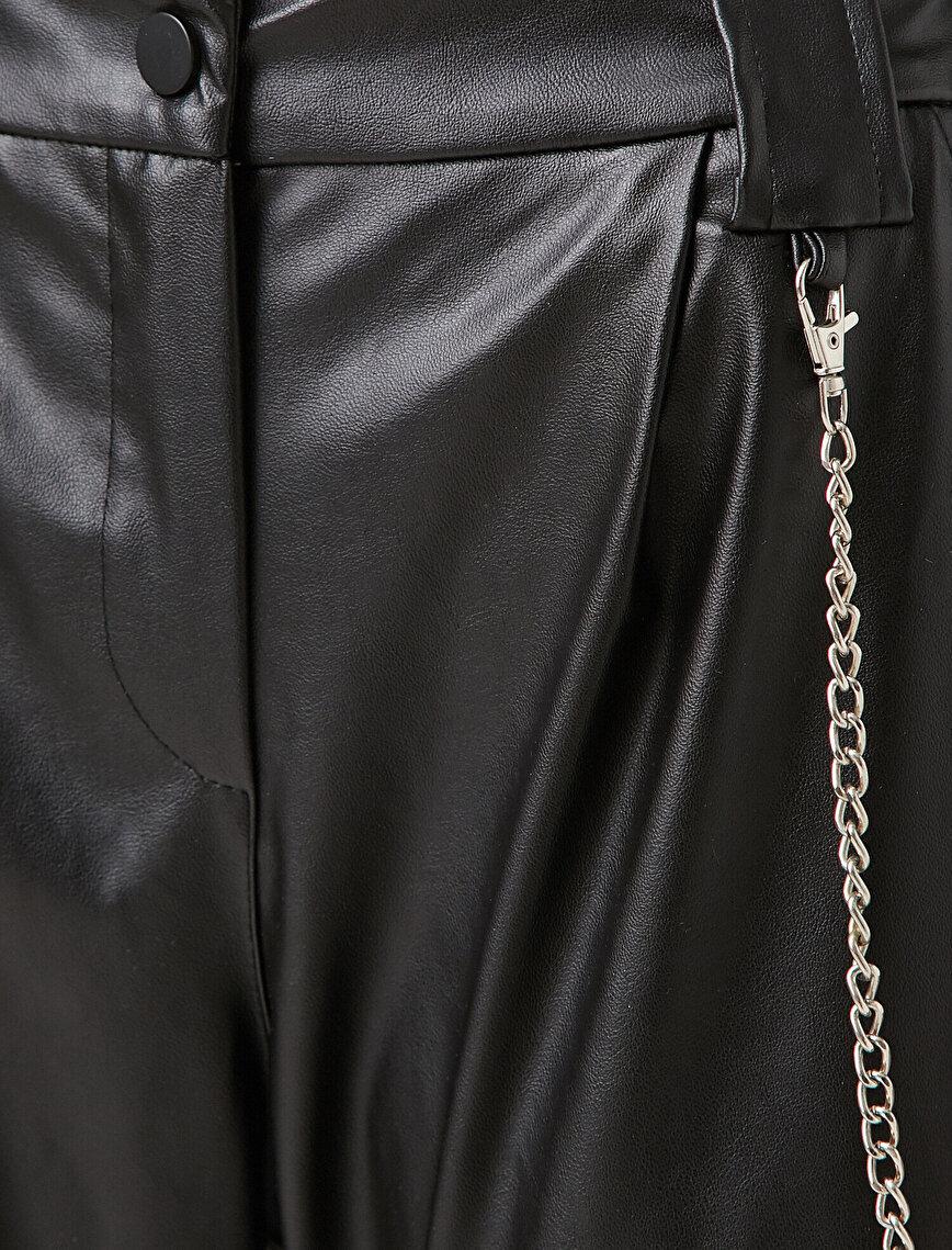 Suni Deri Zincir Detaylı Jogger Pantolon