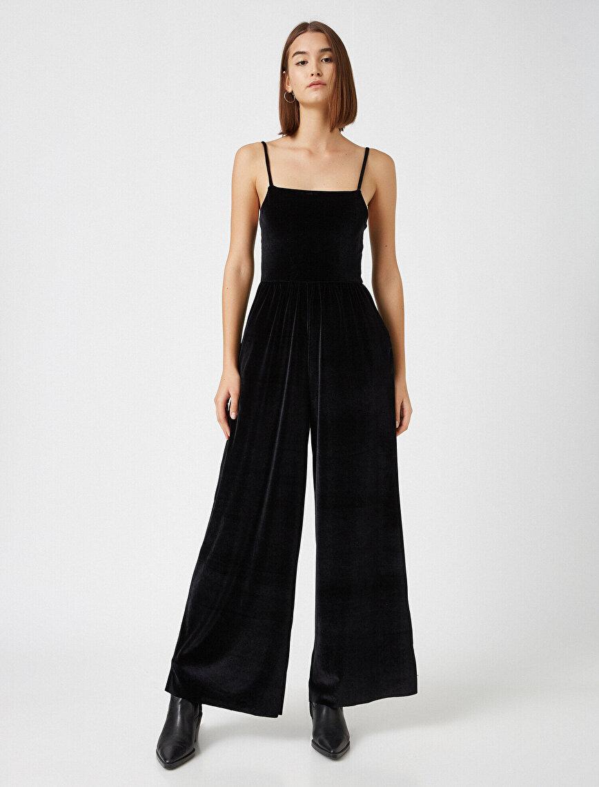 Thin Strap Velvet Jumpsuit