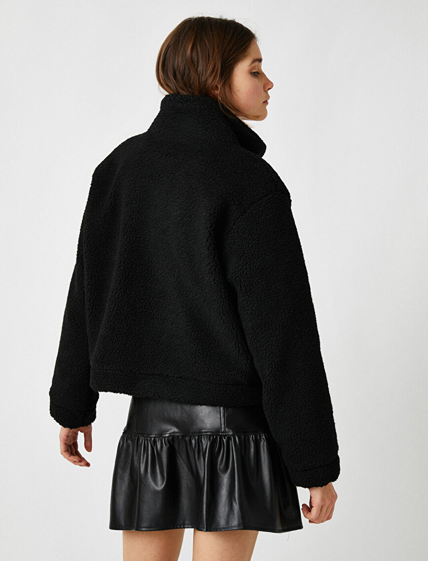 Stand Neck Faux Shearling Jacket