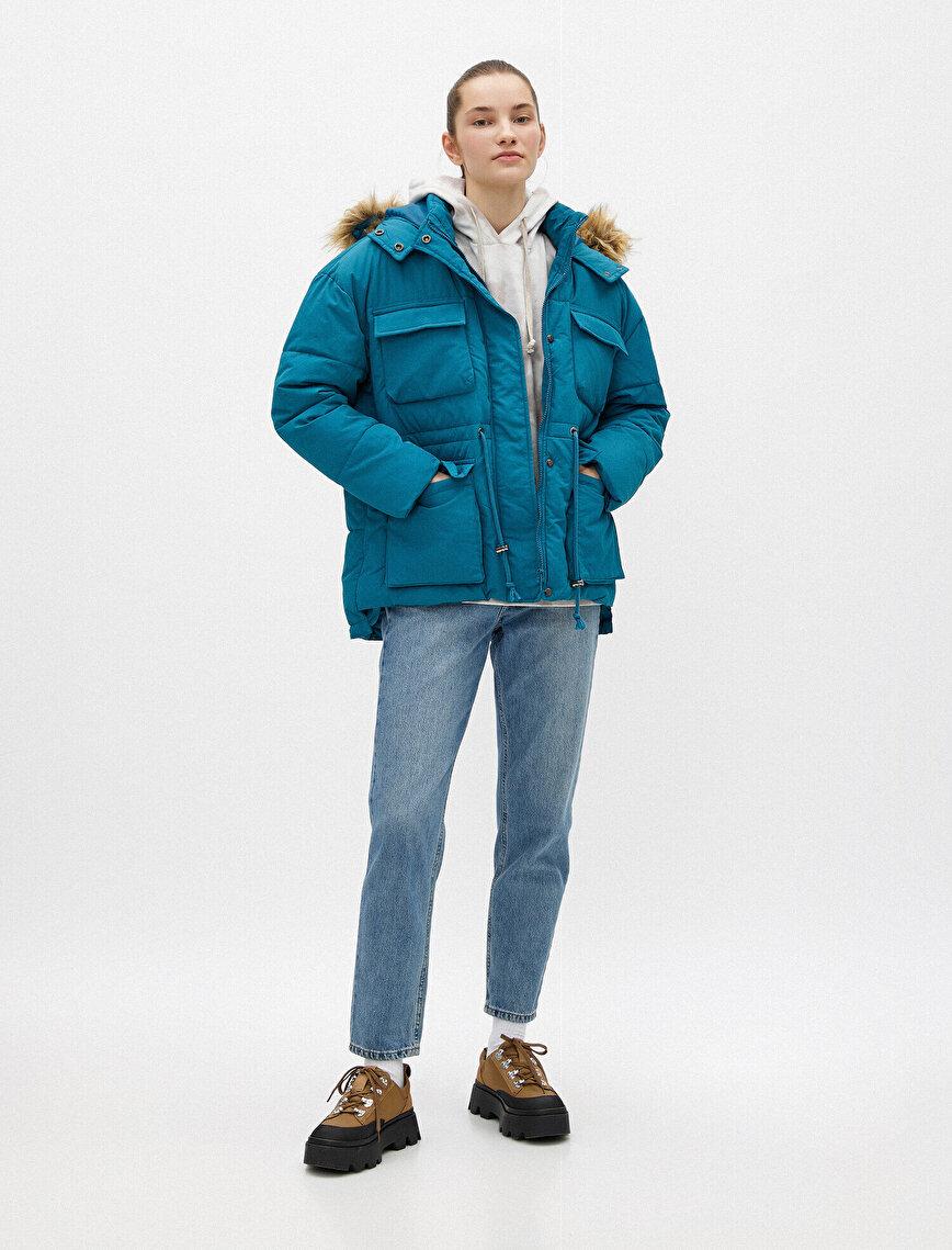 Puffer Jacket Hooded Fur Detailed