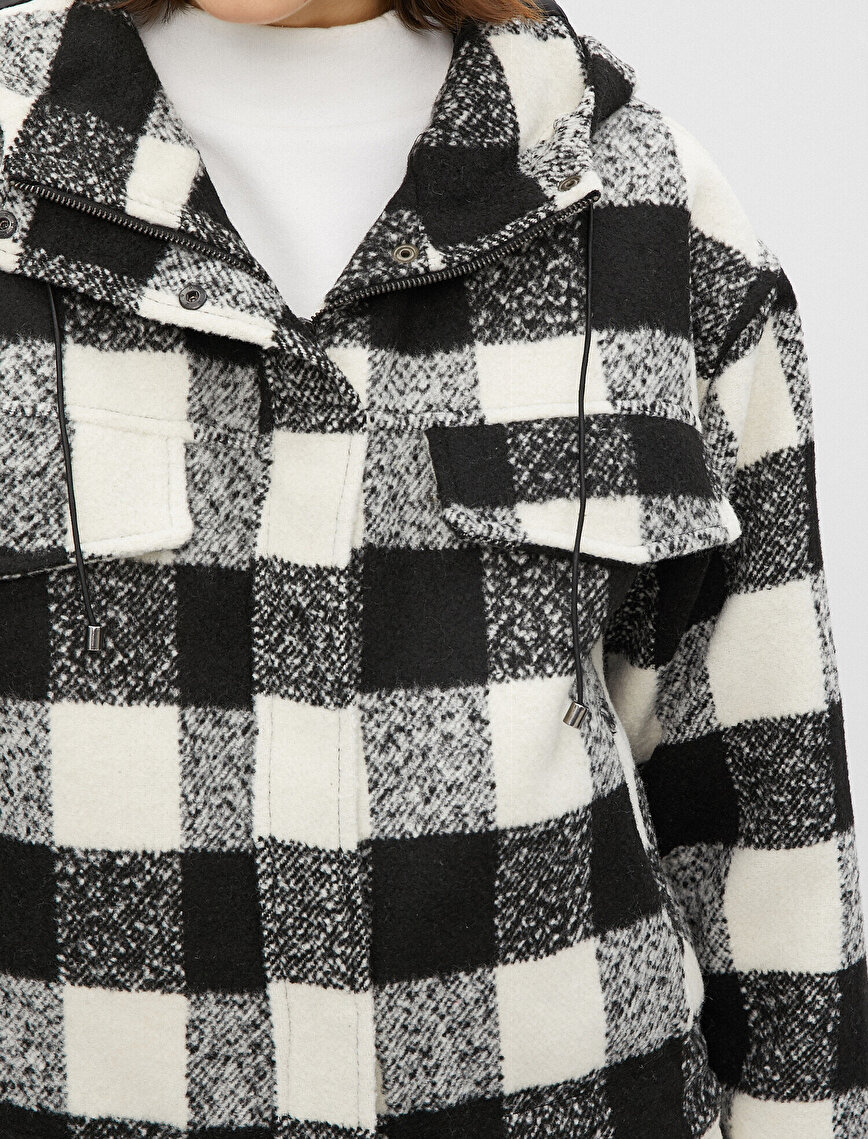 Kapüşonlu Oversize Kareli Ceket