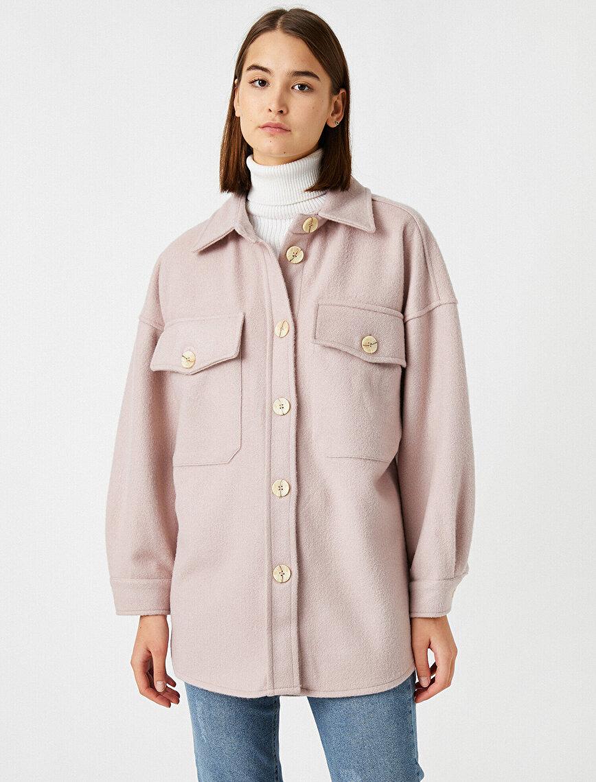 Gömlek Ceket Oversize Cepli