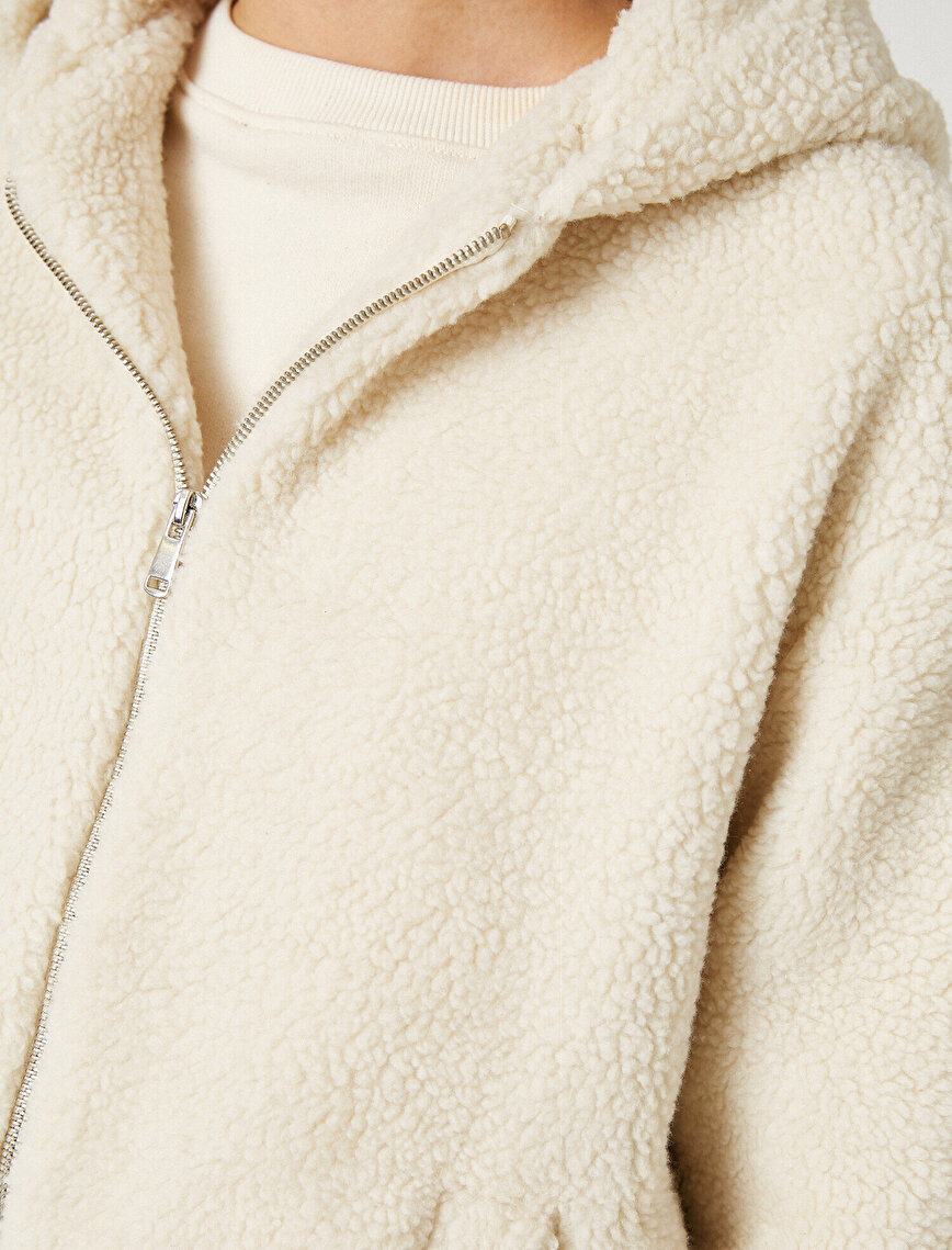 Hooded Zipped Faux Shearling Jacket