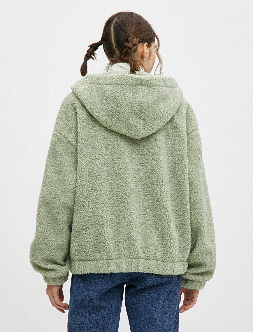 Hooded Zipped Faux Shearling Jacket