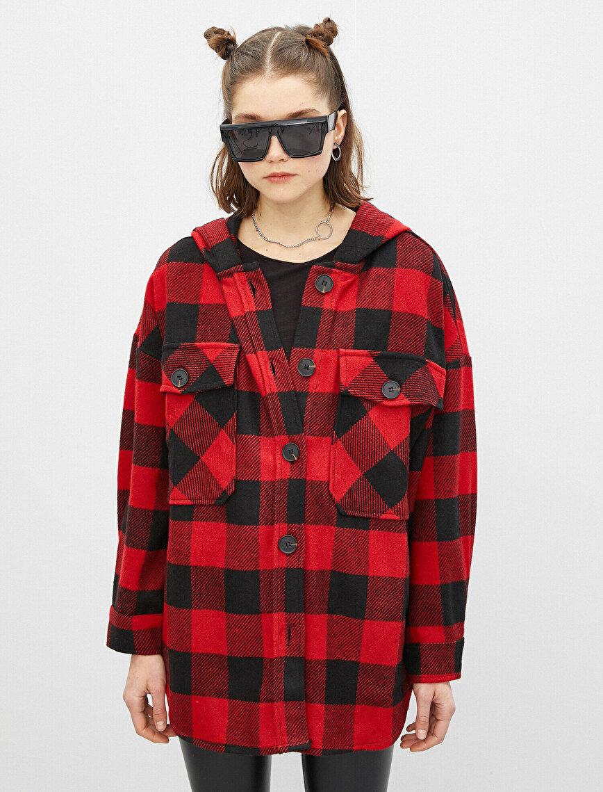 Kapüşonlu Oversize Ekose Ceket
