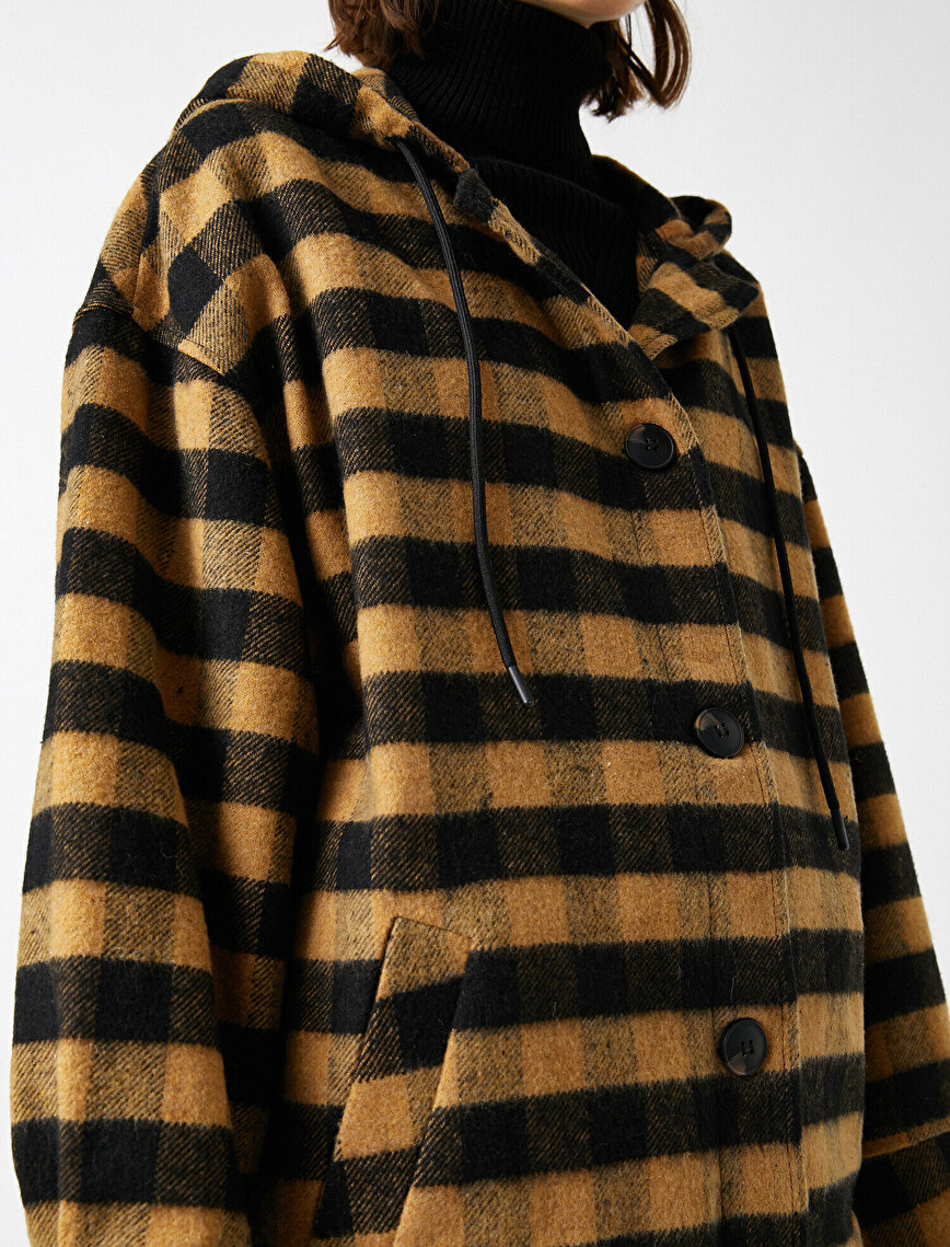 Check Hooded Oversize Jacket